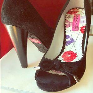 Betsey Johnson suede peep toe shoe & cone heel